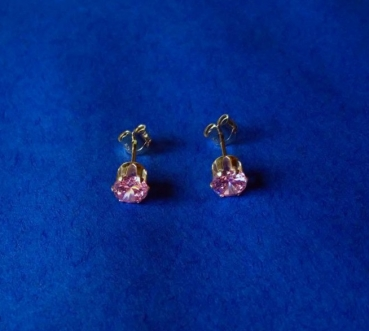 CUBIC ZIRKONIA  PINK 5 mm -  OHRRINGE (OHRSTECKER)  in  925 STERLINGSILBER  – 1 PAAR