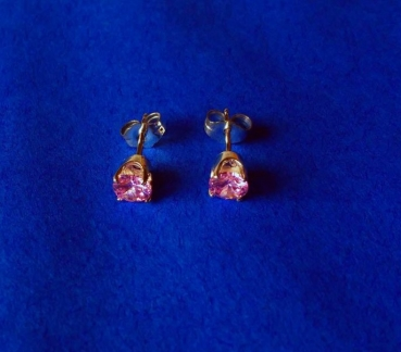 CUBIC ZIRKONIA  PINK  6 mm - OHRRINGE (OHRSTECKER)  in 925 STERLINGSILBER  – 1 PAAR