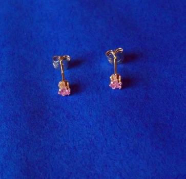 CUBIC ZIRKONIA  PINK  3 mm - OHRRINGE (OHRSTECKER)  in  925 STERLINGSILBER  – 1 PAAR