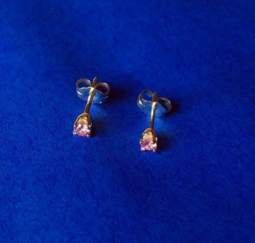 CUBIC ZIRKONIA  PINK  3 mm - OHRRINGE (OHRSTECKER)  in  925 STERLINGSILBER –1 PAAR